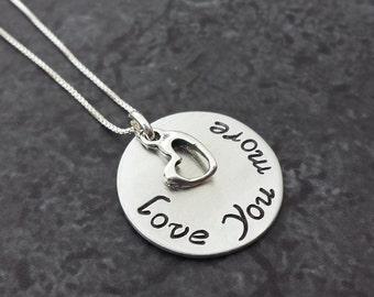 Hand Stamped Necklace - Love You More Necklace Sterling Silver