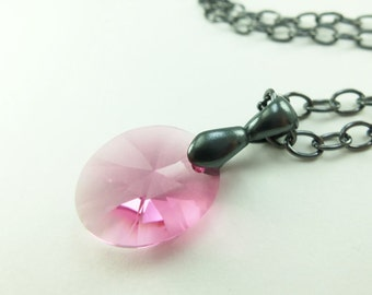 Crystal Necklace Rose Pink Crystal Pendant Necklace Oval Crystal Necklace Gunmetal Dark Silver