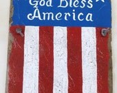God Bless America, Recycled Slate, Hand Painted, Patriotic Sign, Word Art, Gift, Indoor Outdoor Sign, Slate Wall Art, Home Decor