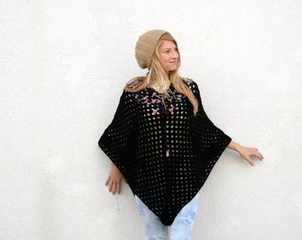 Vintage 70s Hand Crocheted Poncho - Black- Multi Color - Hippie - Boho
