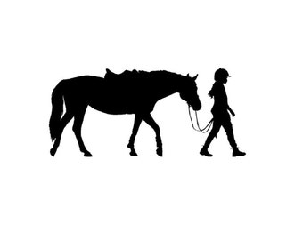 Horse wall decal pony and rider vinyl wall decal girls room teen girl room decor wall art mustang-28 X 13 inches, 216-HS