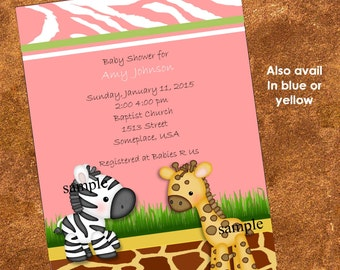 20 Baby Jungle Themed Invitations