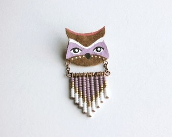 Owl Totem Brooch - Hand painted Pin, animal totem jewelry, felt bird brooch, beaded chevron, tribal jewellery, gift for bird lovers