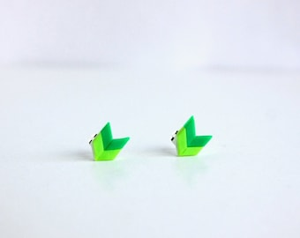 Green Studs - chevron earrings, simple post earrings, geometric everyday jewelry, nickel free, hypoallergenic arrow studs
