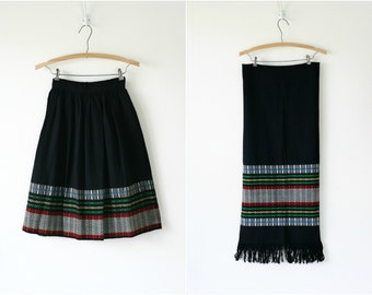 Vintage 1950s woven wool skirt & scarf set
