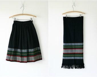 Vintage 1950s woven wool skirt & scarf set