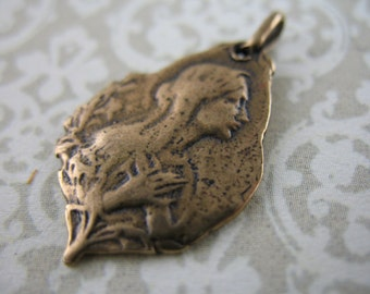 Religious Medal Saint Bernadette Bronze Jewelry Supplies Bronze Charms Pendants SCO5