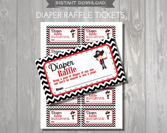 DIAPER RAFFLE TICKETS - Printable Baby Shower Raffle Tickets - Pirate Baby Shower - Instant Download - Pirate Printable Shower Games