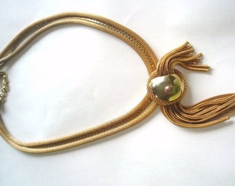 Signed Schiaparelli Mesh Vintage Jewelry Tassel Necklace
