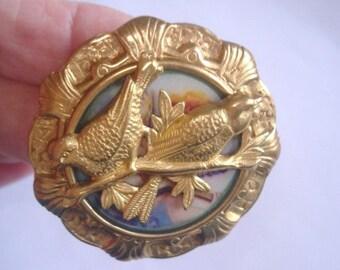 Love Birds  Vintage Jewelry Animal Brooch