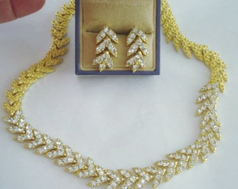 Clear Rhinestones Gold Tone  Necklace