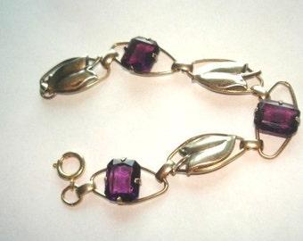 Amethyst Stone 1/20 Gold Filled Link Jewelry Bracelet