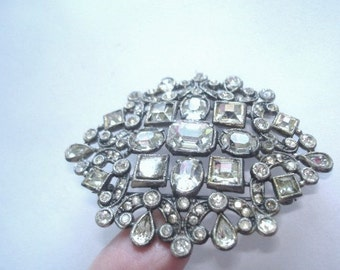 Clear Rhinestone Brooch Silver Tone Vintage Jewelry