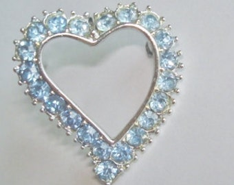 Blue  Rhinestone Heart Brooch
