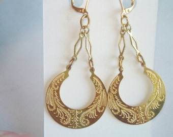 Floral Engraved Earrings Gold Tone Dangles