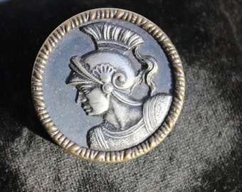 Button Metal Pictorial Greek Hero Hector Large Sewing  VINTAGE by Plantdreaming