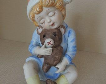 Boy & Teddy Bear Porcelain Figurine Wind-Up Music Box. Boy Windup Music Box. Child's Bedroom Teddy Bear Music Player.