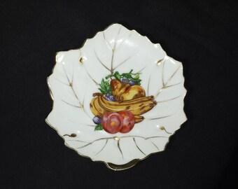 Vintage Enesco Fruit Decorative Dish / 1960s Enesco Hand Painted Fruits on Leaf Shaped Trinket Dish