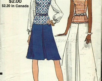 Vintage 1970s Pattern Low Waisted Dress Inverted Pleat Knee or Maxi Length A Line Skirt 1972 Vogue 8287 Bust 34 UNCUT