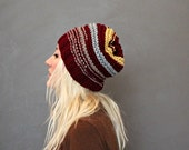 Unisex Slouchy Hat Burgundy Yellow Beige Grey Striped Womens Hat Mens Beanie Knit Hat Knitted Skull Cap Hipster Beanie Cozy Wool Hat