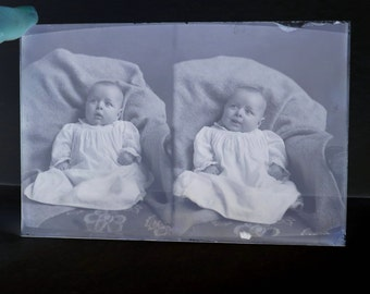 Victorian Baby Double View Antique Photograph Glass Plate Vintage Photo Negative Instant Ancestor