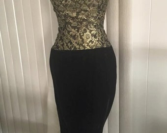Sale Sultry Vintage Gold Brocade and Velvet Strapless Dress with Mermaid Hem -- Size S-M