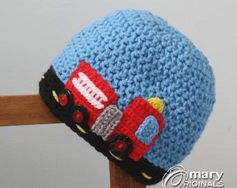 Fire Engine Hat, Fire Truck Hat, Firetruck Hat, Crochet Beanie, Crochet Truck Hat, Rescue Vehicle Hat, Boy's Clothing, Girl's Clothing,
