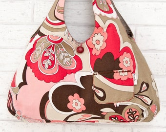 Reversible bag in Red and Taupe Flowers. Two tote bags in one. OOAK Purse