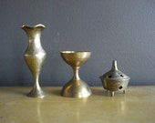 Brass Trio  - Vintage Mini Vases and Candle Holders - Set of Three