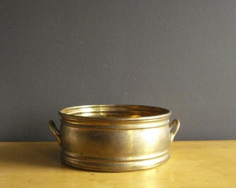 Brass it Up II - Large Brass Planter -  Round Brass Planter or Bowl with Handles