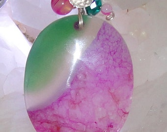 Wire Wrapped Pink and Green Agate Pendant