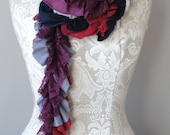 SS15 petal patchwork scarf by FAIRYTALE13 - red, deep purple, grey, navy, violet and lilac jersey and lace.
