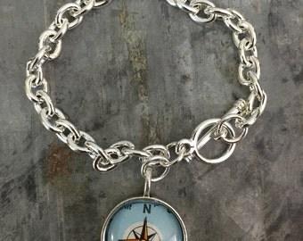 Wanderlust Compass  map charm bracelet
