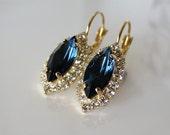 Montana Crystal Swarovski Rhinestone Navette Earrings VintageStyle Gold Dark Sapphire Blue Edwardian Victorian Earrings Feminine Gift to Her