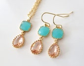Mint Peach Jewelry,Crystal Peach Teardrop Delicate Jewelry,Bridal Jewelry Set,Earrings Necklace,Bridesmaid Flowergirl Maid of Honor Favor