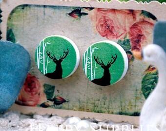 Buy 1 Get 1 Free - 20pcs 15mm (WC25) Round Handmade Photo Wood Cut Cabochon (Back White)
