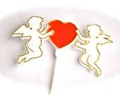 Twin Cupids With Heart Valentines Day Cake Topper Plastic