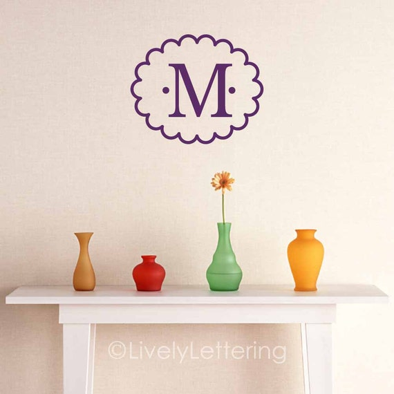 Letter wall decal, scallop oval frame, Initial wall decal, nursery decor, bedroom decor, letter sticker, vinyl lettering (W00924)