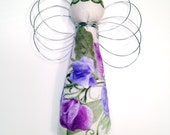 Fabric and Wire Angel Ornament/Hanger - Cream and Purple Flowers