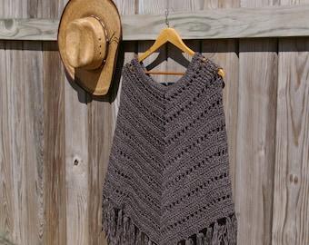 Crochet Poncho, Boho Poncho, Hippie Poncho in Dark Grey Heather