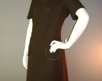 60s dress 1960s vintage BROWN WHITE TOPSTITCH gold button dress deadstock nos
