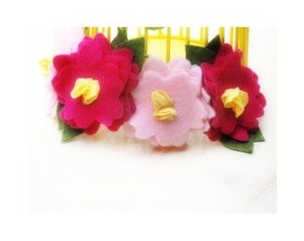Stylish Flowers Headband. Fuchsia Hot Pink Olive Green Yellow Felt Hair Head Clip. Preteen Teen Toddler Baby Newborn Girl Fancy Fashion Band