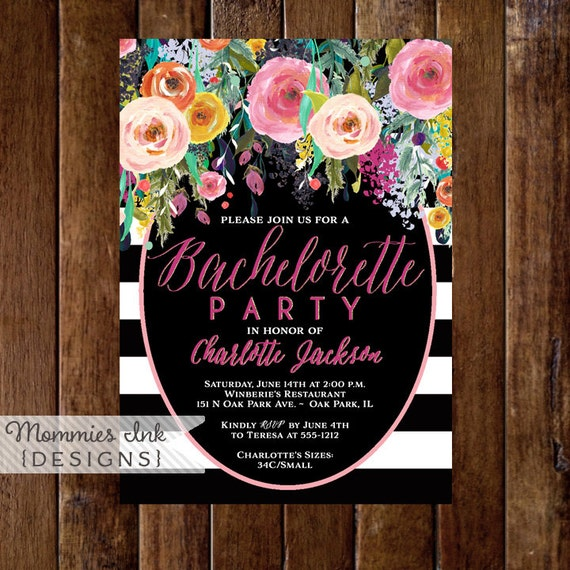 Bachelorette Party Invitation Watercolor Flowers Invitation – Flower Party Invitations