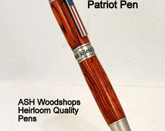 American Patriot Handmade Custom Twist Ballpoint Pen, Cocobolo Wood with Antique Pewter trim, ASH Woodshops patriotic Valentines Day