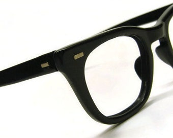 Vintage USS Black Horned Rim Eyeglasses