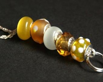 Beaded Badge Holder. Yellow Badge Lanyard. Floral ID Lanyard Summer Yellow Badge Necklace. Handmade Teacher Lanyard. Lampwork Glass Lanyard.