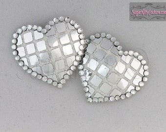 Heart Shaped Silver Sequined Disco Ball Nipple Pasties - SugarKitty Couture