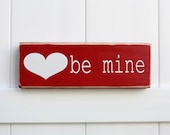 Valentine's Decor // Hand Painted Wooden Valentine's Block // Typography Art // Valentine's Day //  Be Mine // Love // Shelf Decor