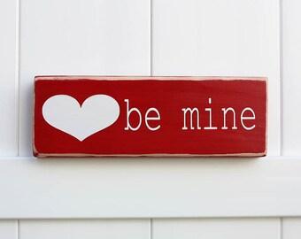 Valentine's Decor // Hand Painted Wooden Valentine's Block // Typography Art // Valentine's Day //  Be Mine // Love // Shelf Decor