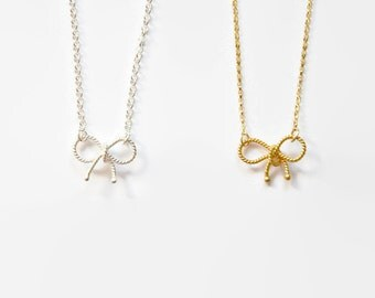 Bow necklace, gold ribbon, sterling silver bow, ribbon necklace, gold bow, silver ribbon, designer inspired, dainty jewelry - Adrienne